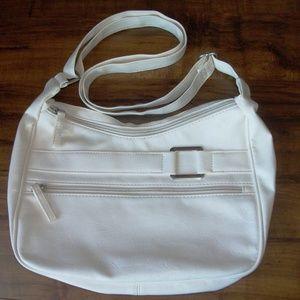 Vintage white leatherette bag (#EV639)